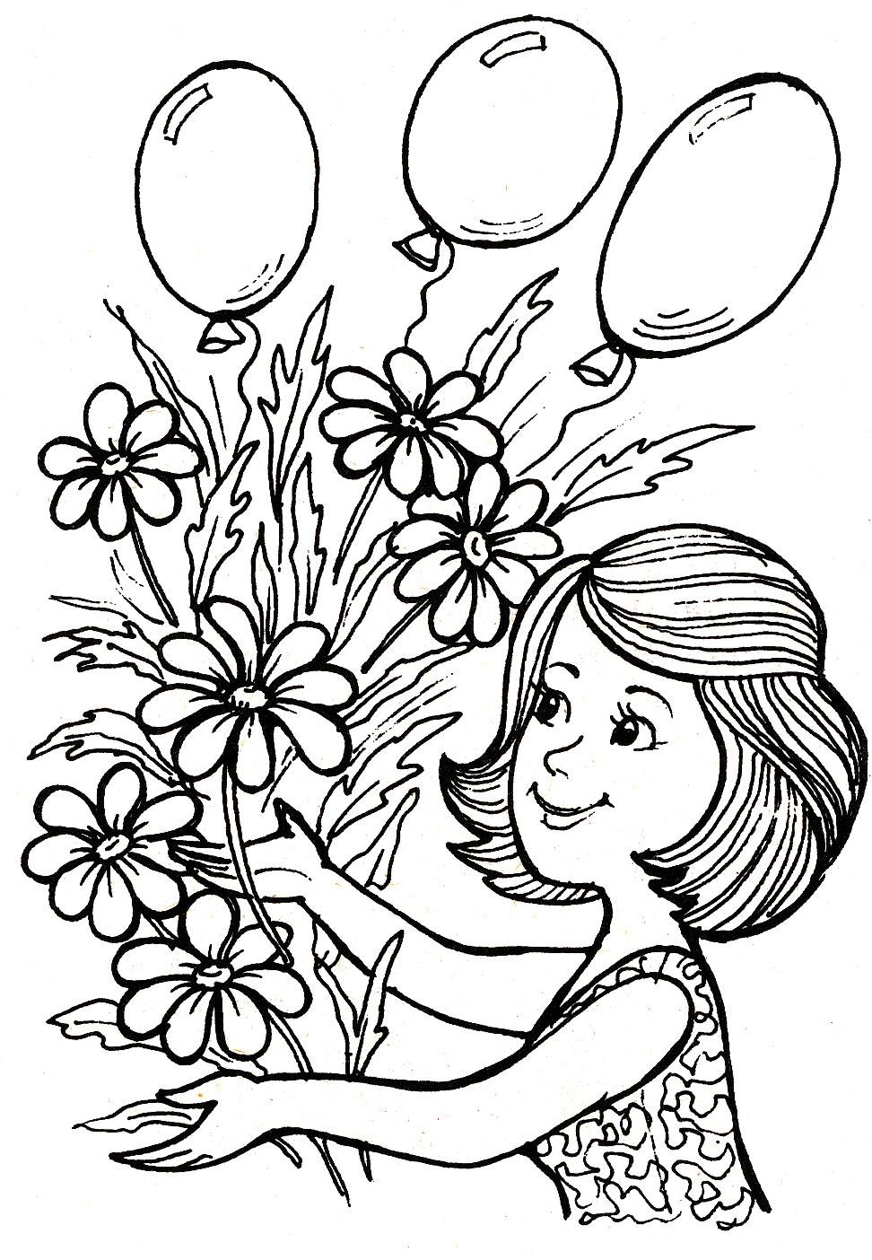 Раскраски картинки 8 марта для детей