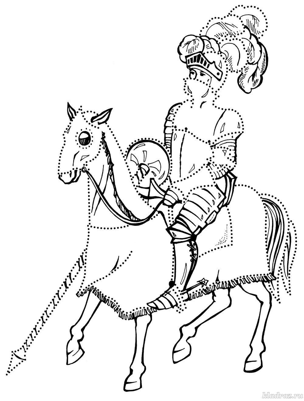 Раскраска для мальчиков. Рыцарь на коне
