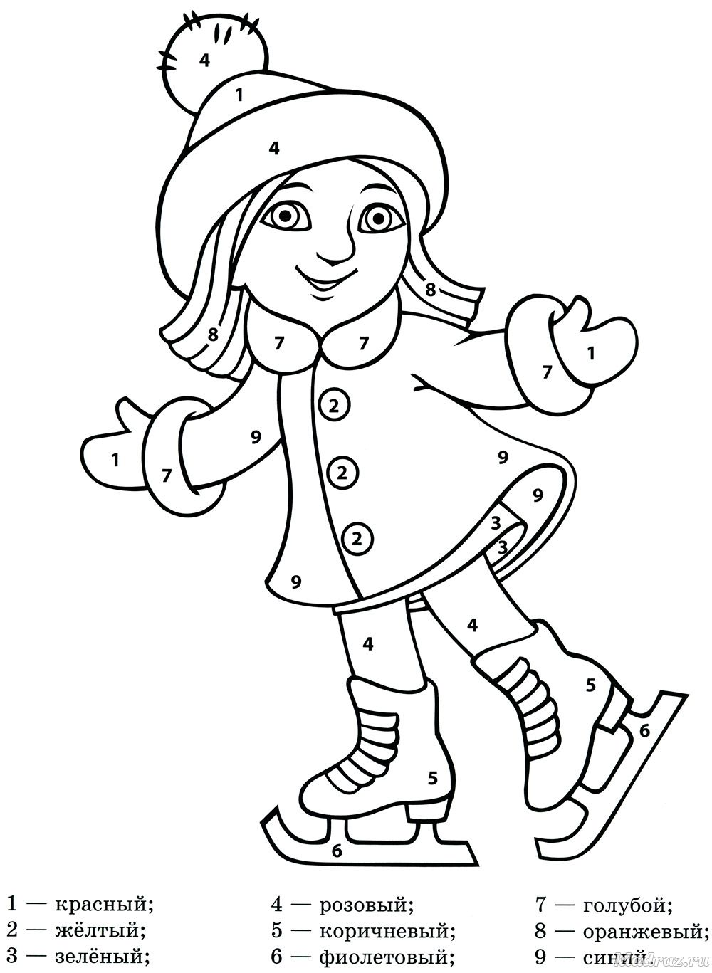 Раскраска по цифрам для детей от 5 лет