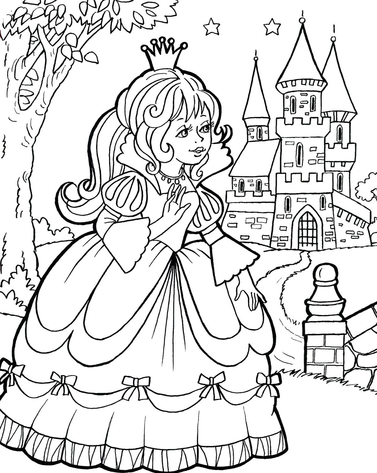 Раскраски для девочек. Принцесса и замок