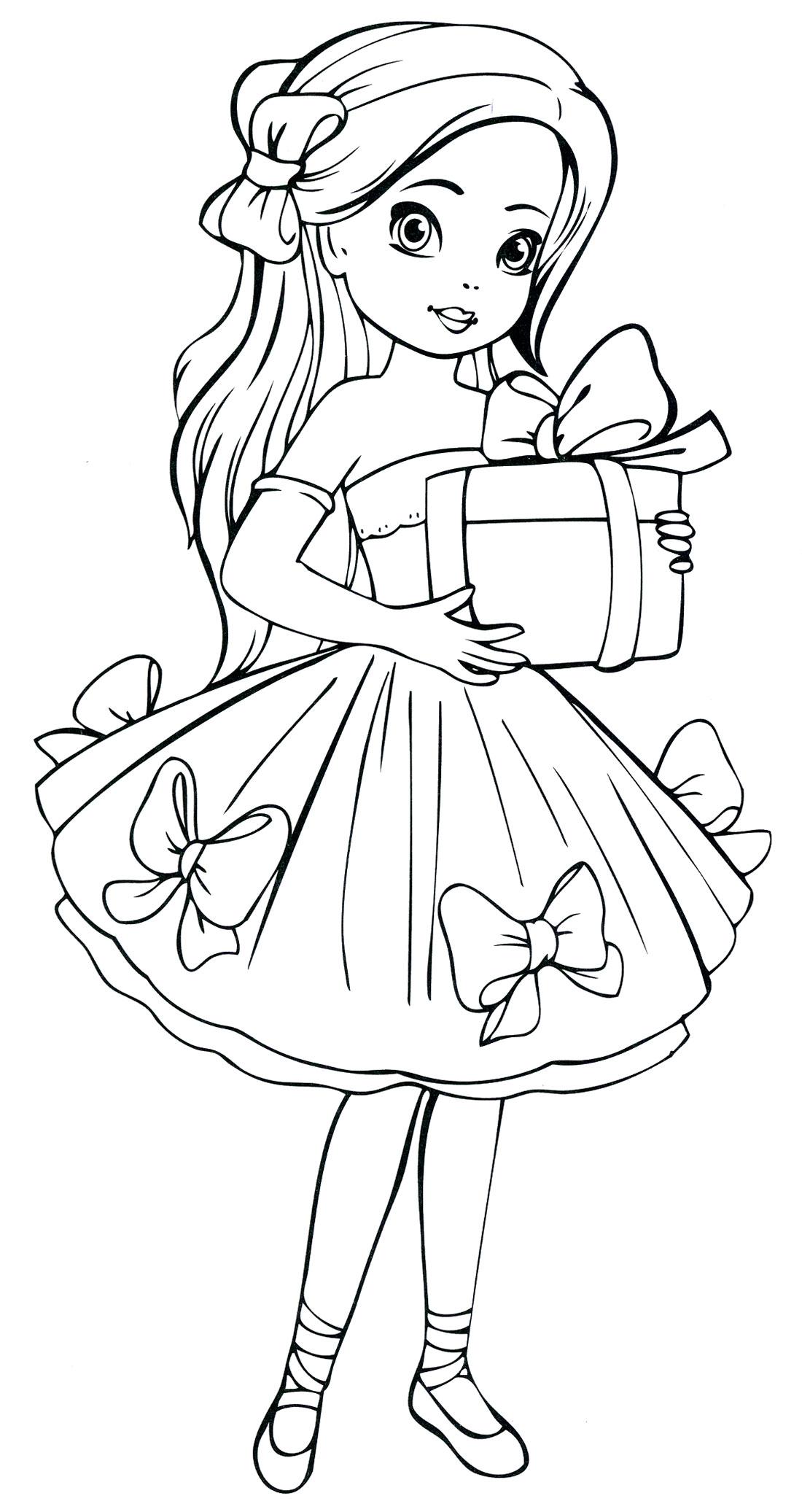 Раскраски для девочек. Девочка принимает подарок