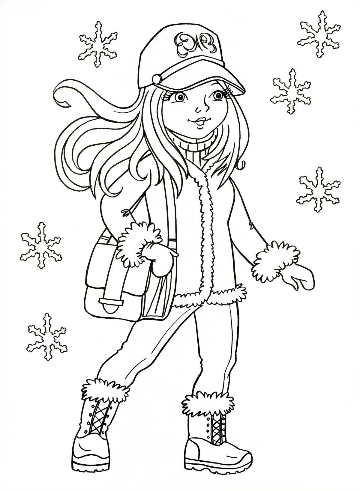 Зимние раскраски для девочек