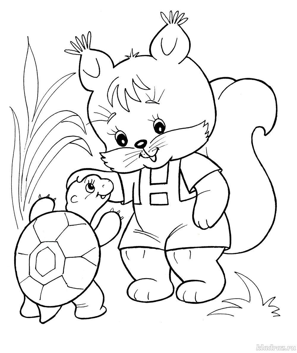 Раскраска для детей. Белочка и черепаха