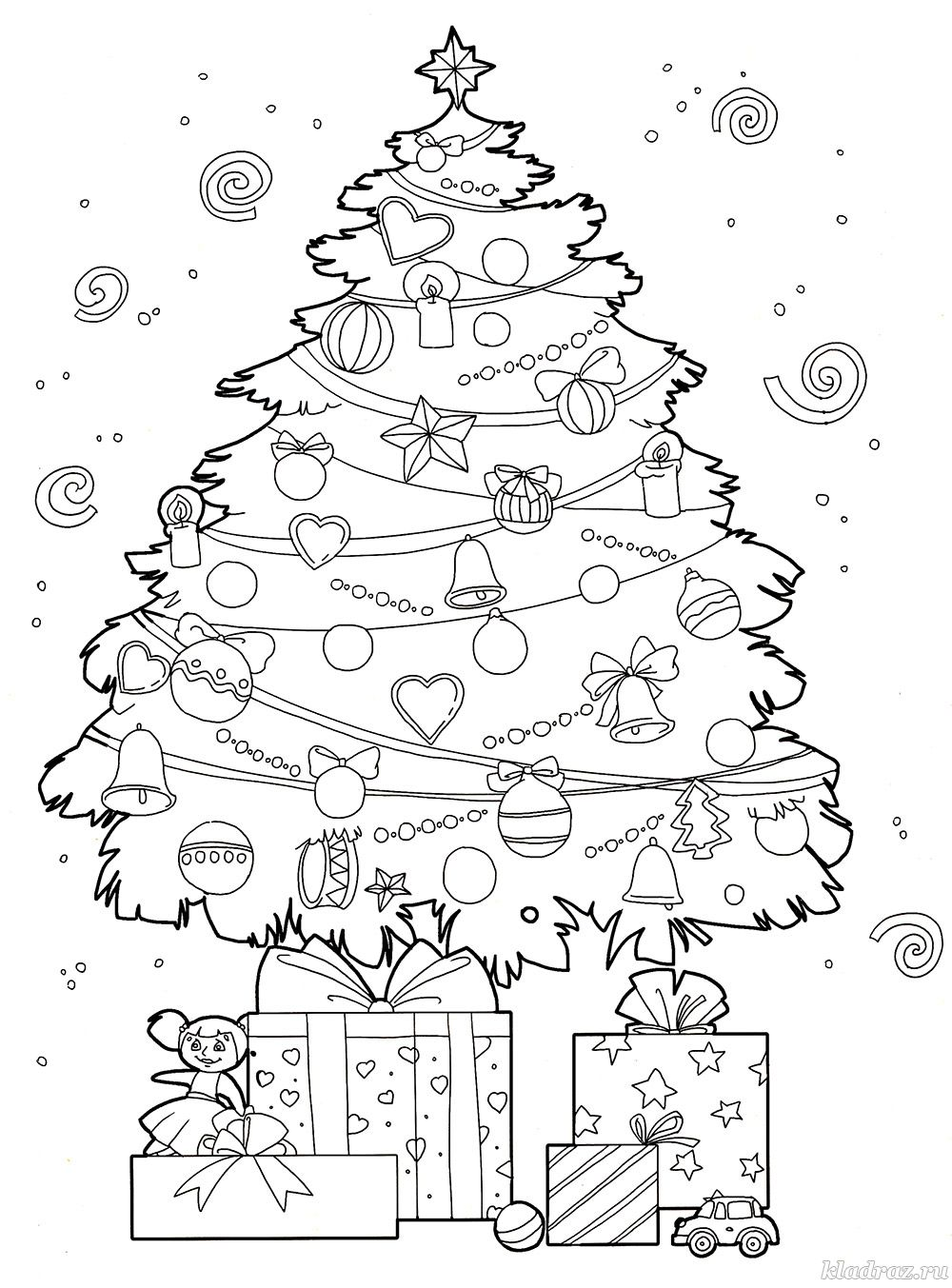 Зимняя раскраска для детей 5-7 лет. Новогодняя ёлка