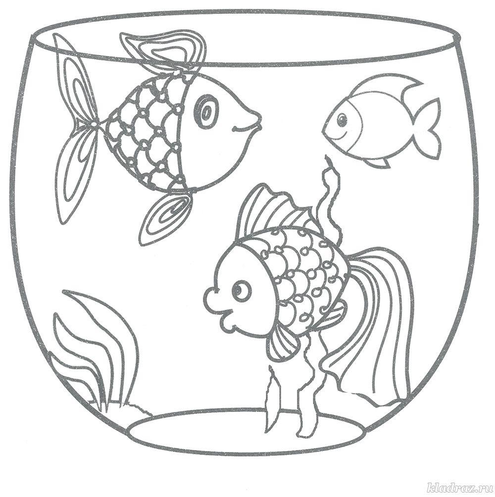 Детская раскраска. Рыбки