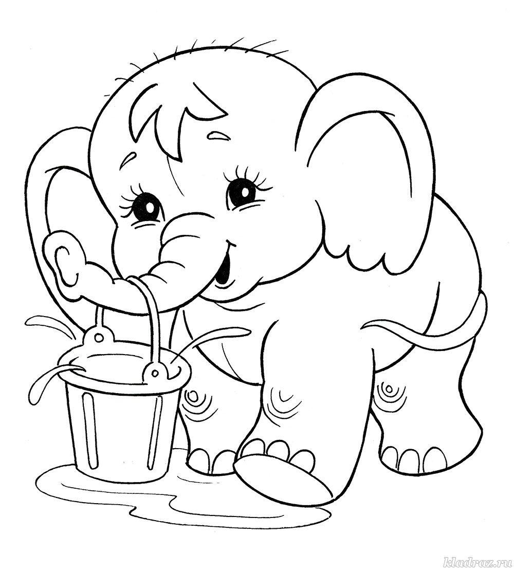 Раскраска для детей 4-7 лет. Слонёнок