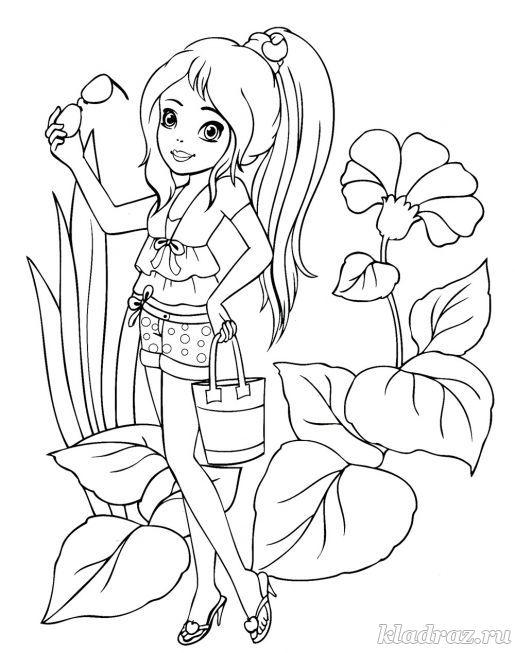 Раскраска для девочек 6-9 лет. Фея цветов