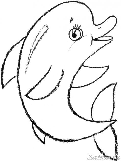 Детская раскраска для детей 3-4 лет. Дельфин