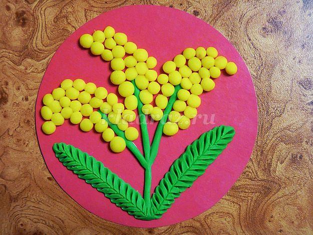 Днем рождения, открытка на 8 марта мимоза из пластилина