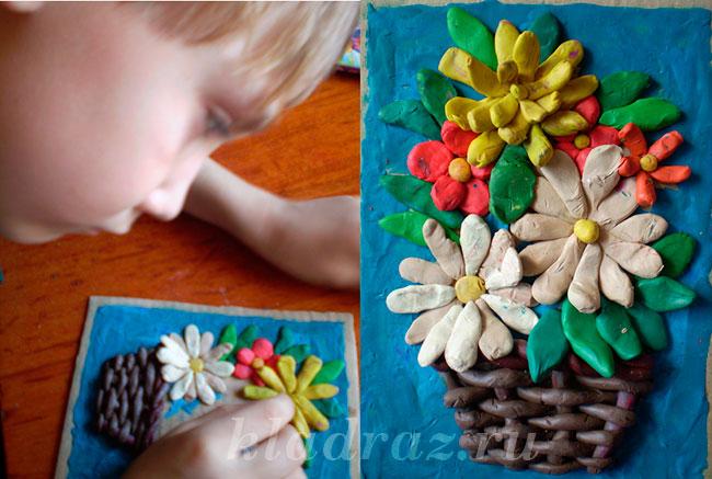 Поделки из картона и пластилина для бабушек