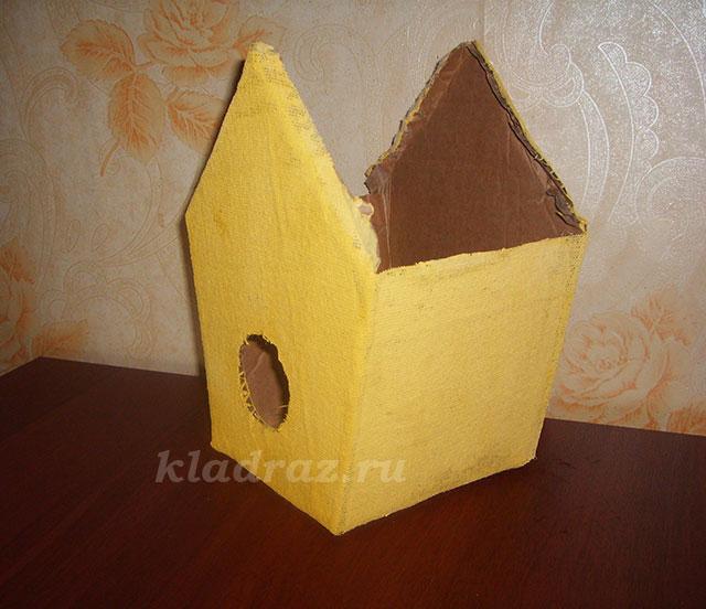 Скворечник своими руками из картонной коробки 13