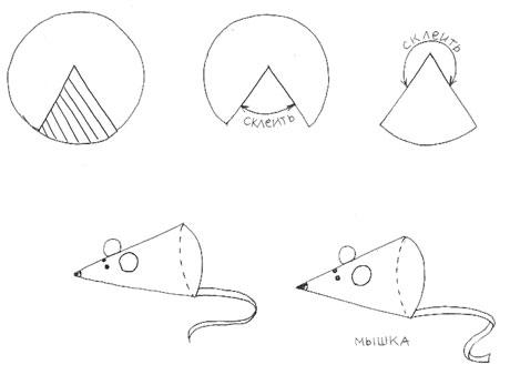 Поделку мышка из бумаги