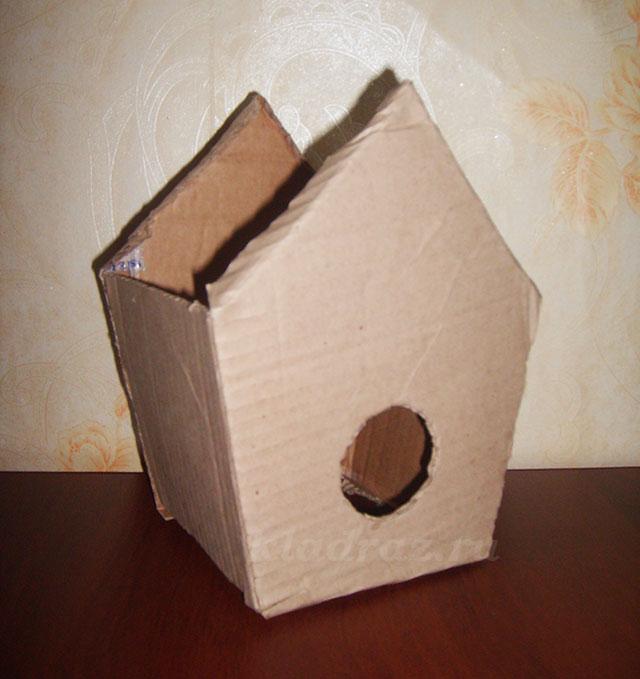Скворечник своими руками из картонной коробки 86