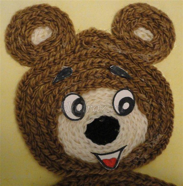 Поделки из ниток медвежонок