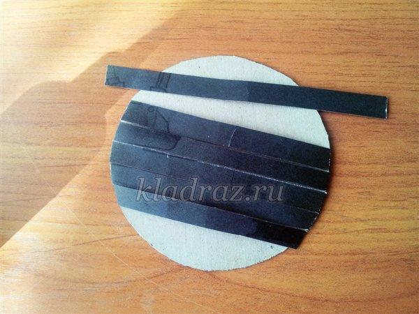 Аппликация с элементами плетения Подсолнух