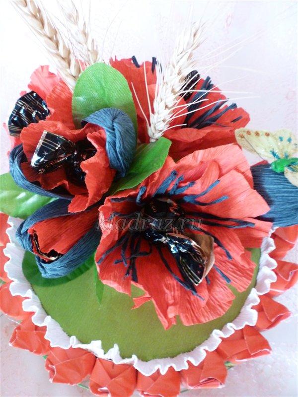 Хризантемы из конфет гофрированной бумаги своими руками мастер класс