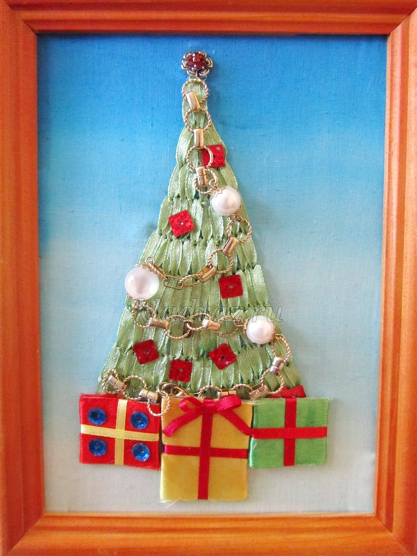 Новогодняя елка. Вышивка лентами