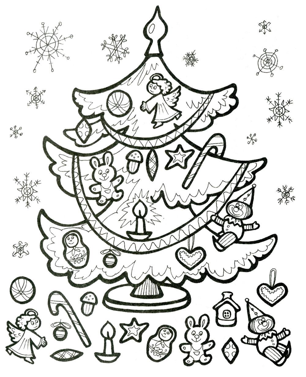 Картинки раскраски новогодняя ёлка