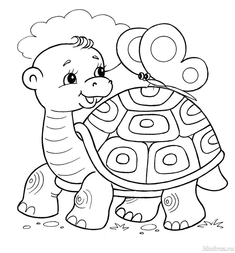 Раскраска для детей 4-7 лет. Черепаха