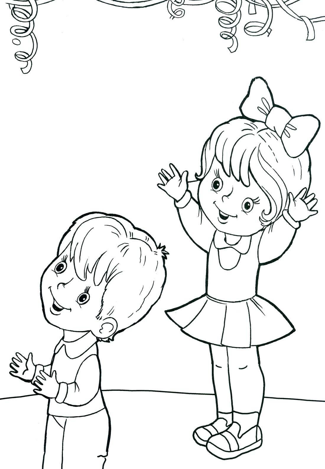 Раскраска мальчик с шариком - 8