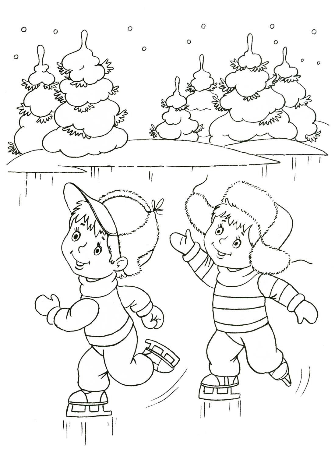 Картинки с раскрасок про зиму