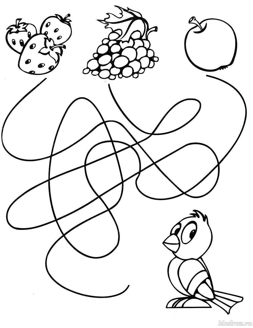 Раскраски лабиринты для детей 4 лет