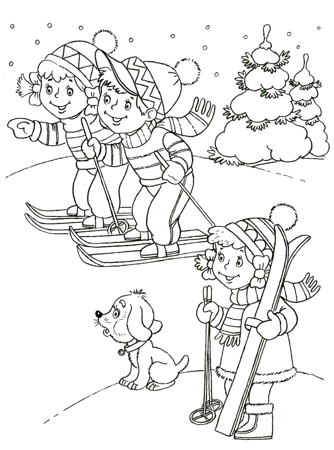 Раскраска зимняя для детей