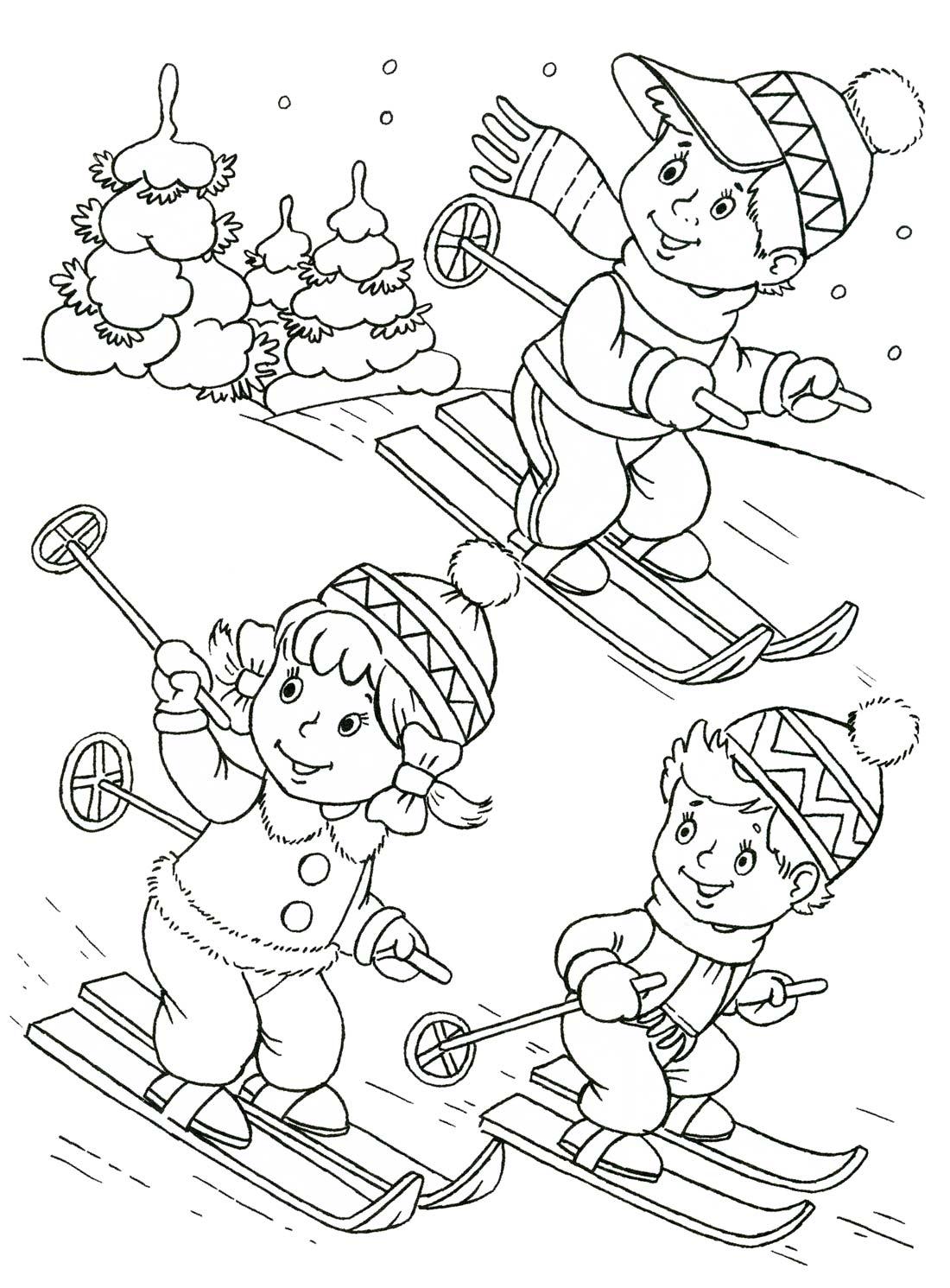 Раскраска зима для девочек