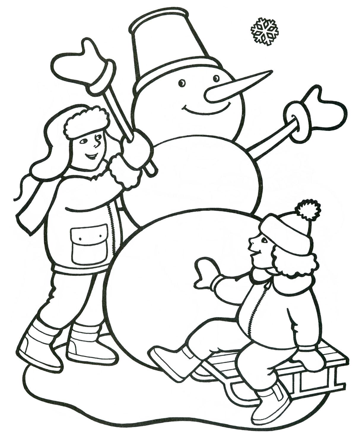 Рисунок зима раскраска