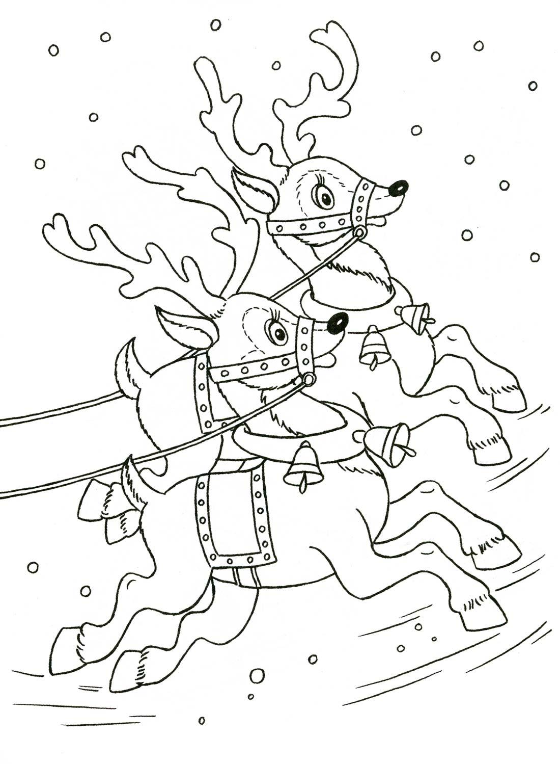 Раскраски деда мороза на оленях
