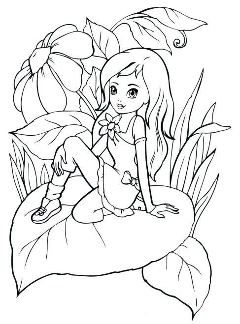 Раскраски для девочек девочка в саду