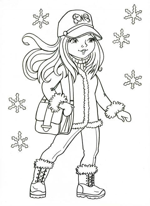 Зимняя раскраска для девочек