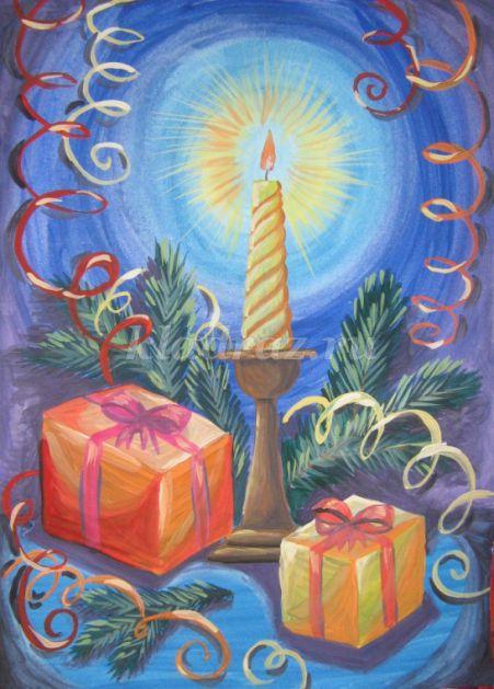 Рисование гуашью. Новогодняя  ёлочка