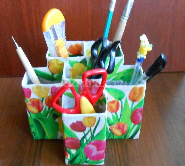 Подставки для карандашей своими руками Как с коробок сделать для ручек карандашей