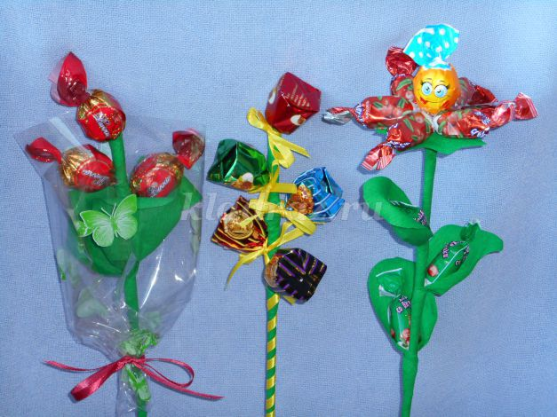 Цветы с конфетами своими руками с пошаговым фото