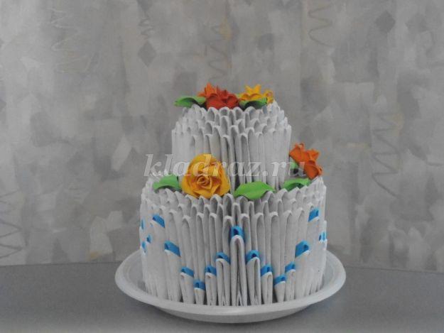 Торт из модулей оригами.