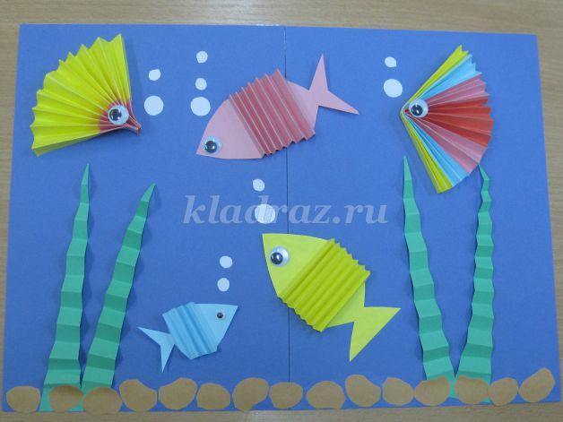 Забавные поделки из бумаги сложенной гармошкой рыбки 6