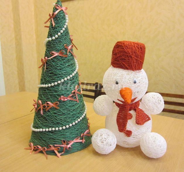 Как сделать своими руками снеговика из ниток