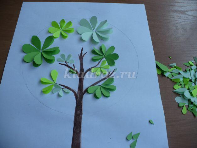 Аппликация дерево из бумаги для детей