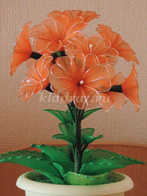 Как сделать цветок из капрона своими руками фото 448