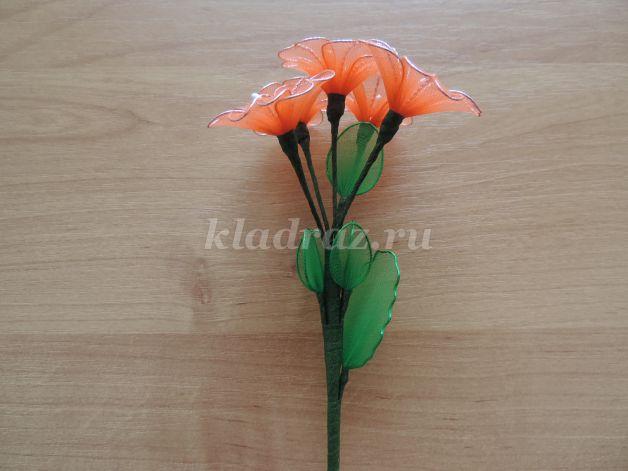 Цветы из капрона с проволокой своими руками 136