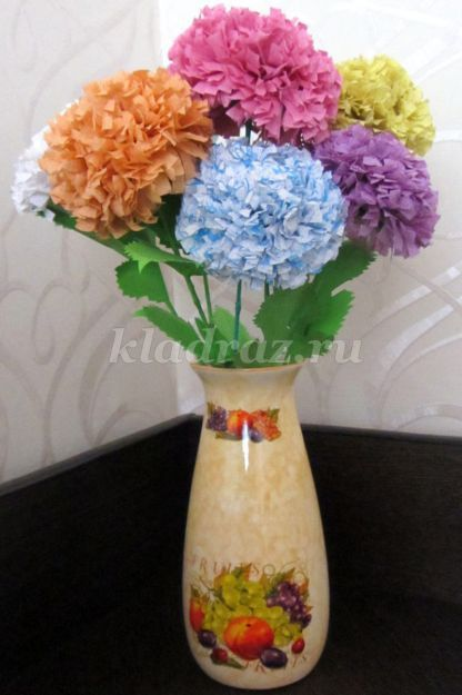 Хризантемы из салфеток пошаговое 120