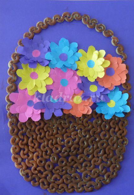 Поделка из картона корзина с цветами