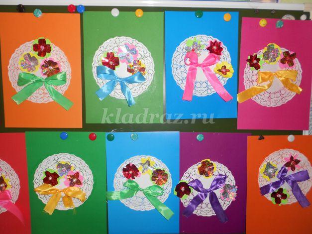 Детские простые открытки поделки 8 марта