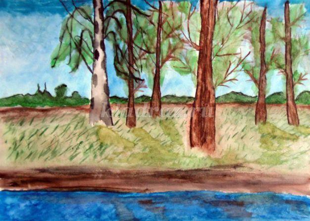 Картинки в парке весной гуашью