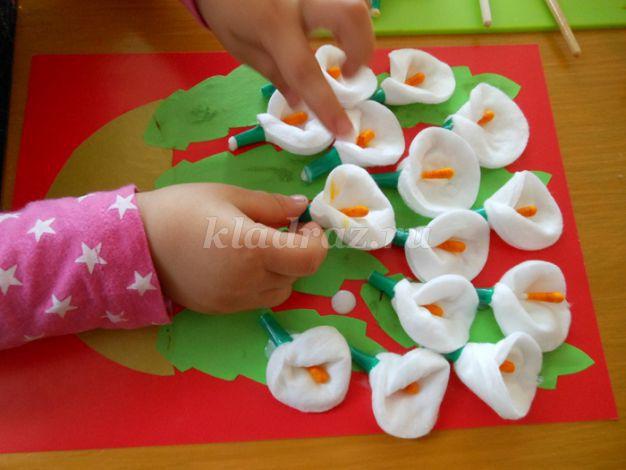 Цветы сделанные своими руками из ватных дисков