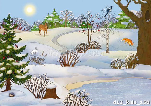 Дети в лесу зимой картинки детские