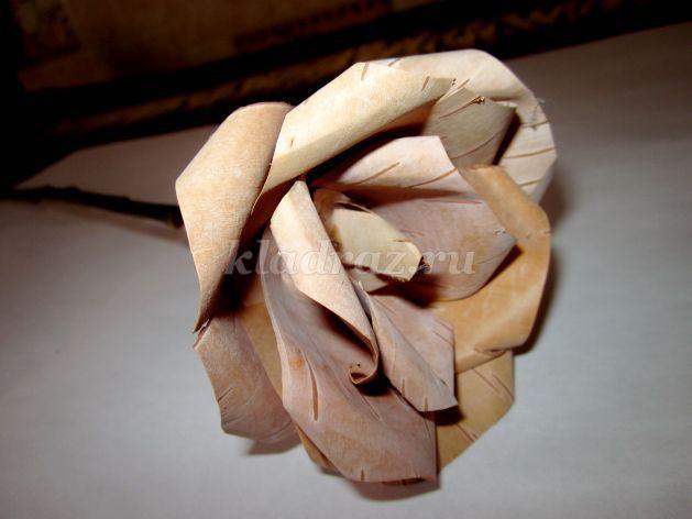 Роза из бересты своими руками