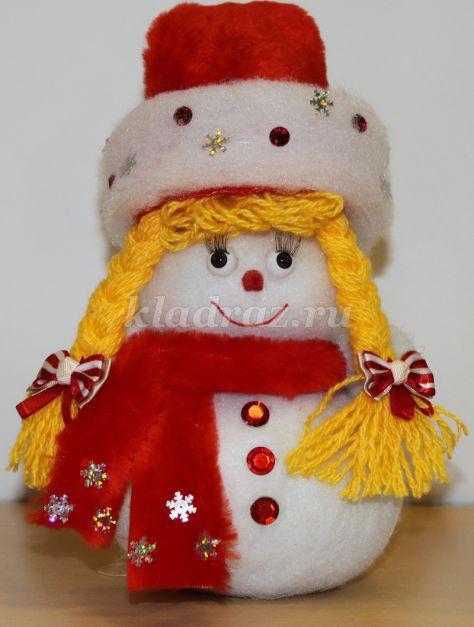 Снеговик из ваты аппликация своими руками