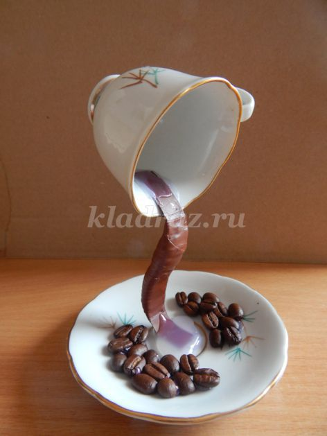 Поделка из кофе чашка с блюдцем 41